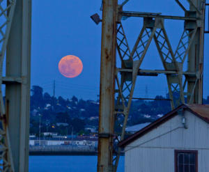 Red Moon over Mare Island